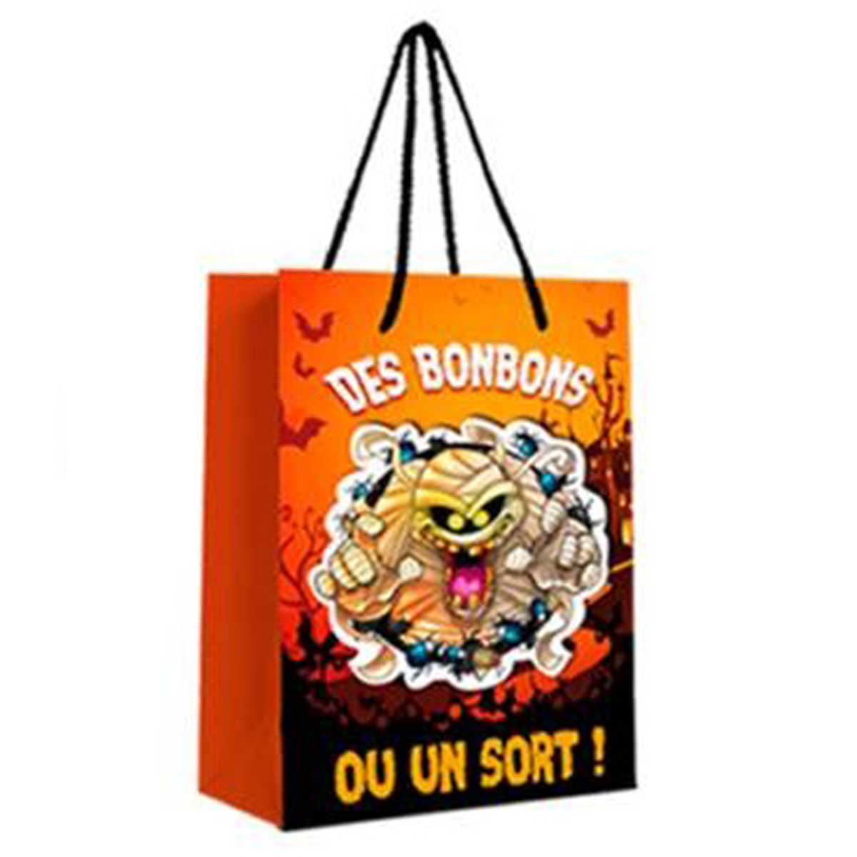 Sac à bonbons \'Halloween\' orange - 23x18x10 cm - [Q3165]