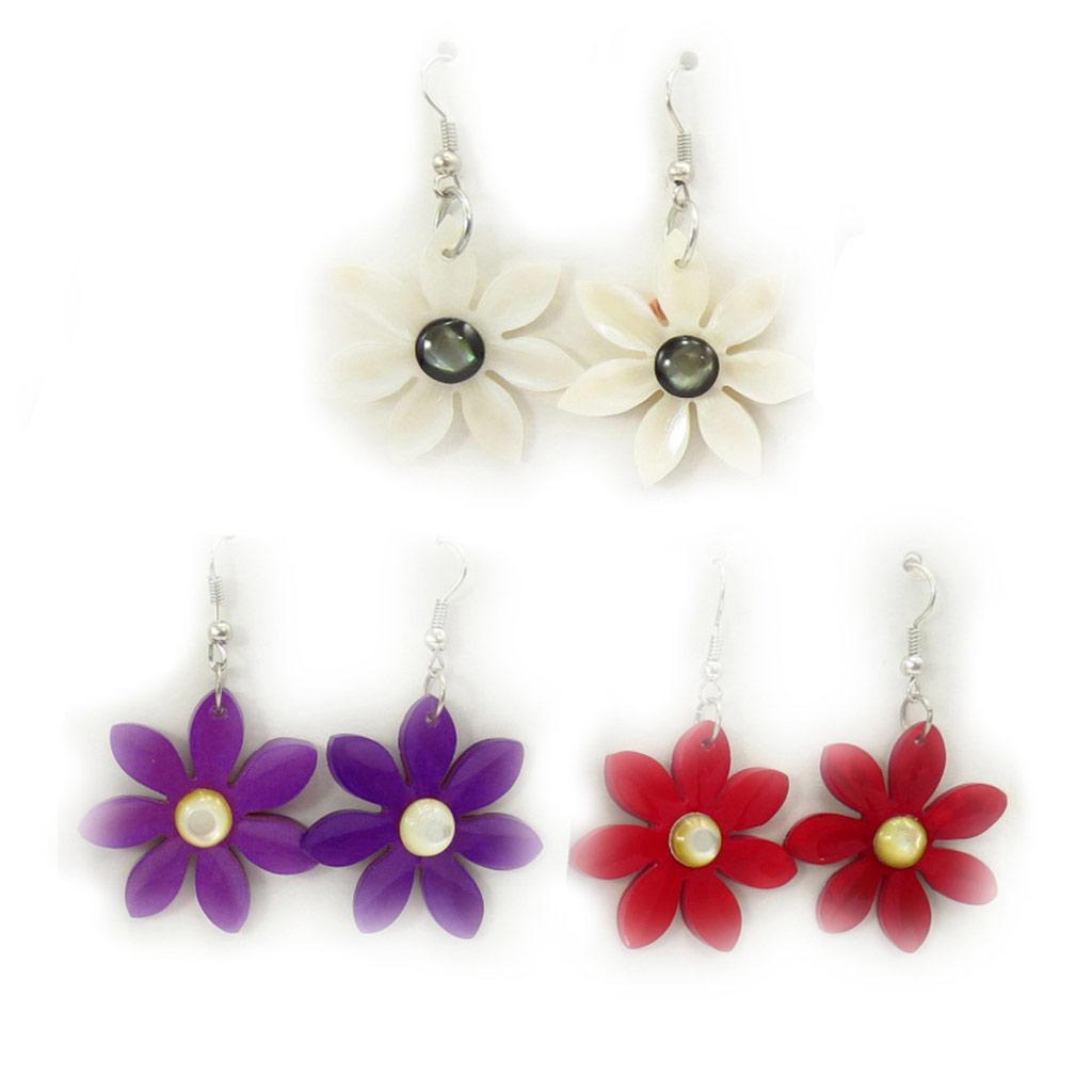 3 paires de boucles \'Kilimanjaro\' rouge blanc violet (fleur) - [K6486]