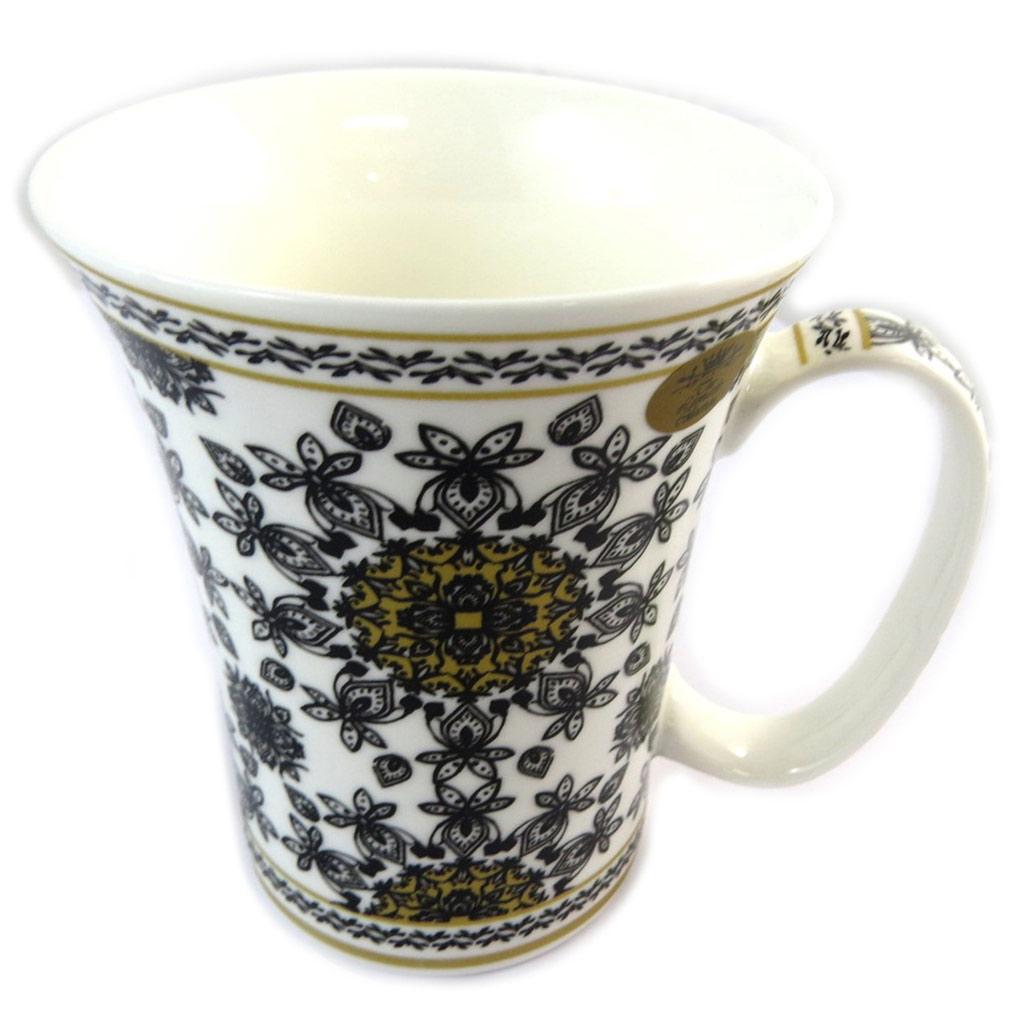 Mug porcelaine \'Mosaic\' blanc noir - [N8636]