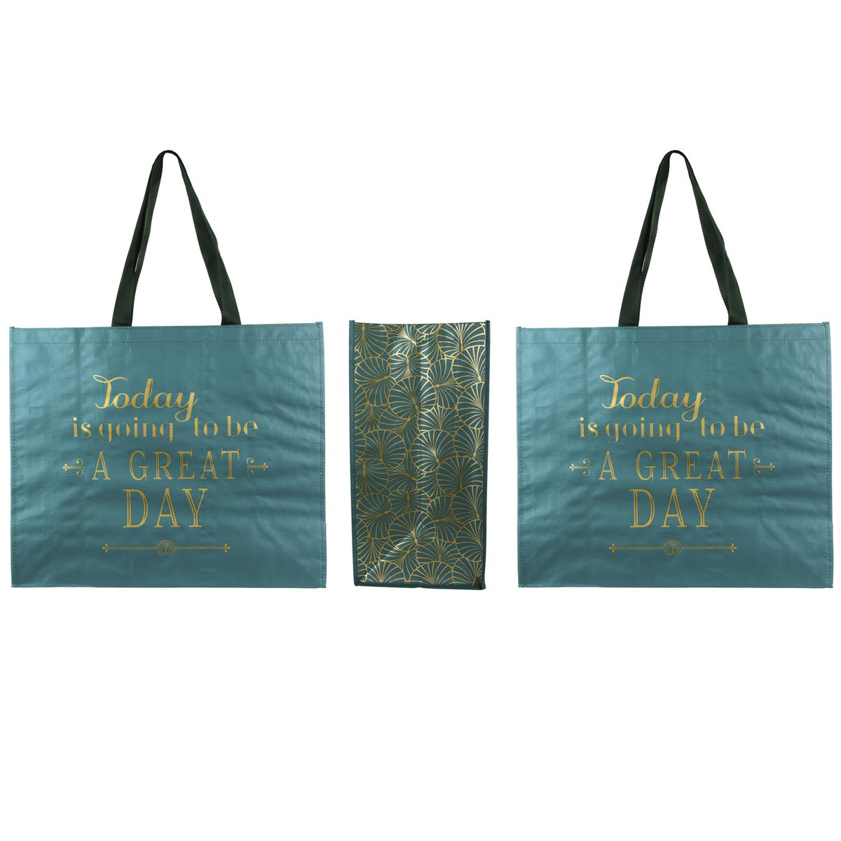 Sac Shopping \'Messages\' turquoise doré (Today is going to be a great Day) - 50x42x22 cm - [Q3832]