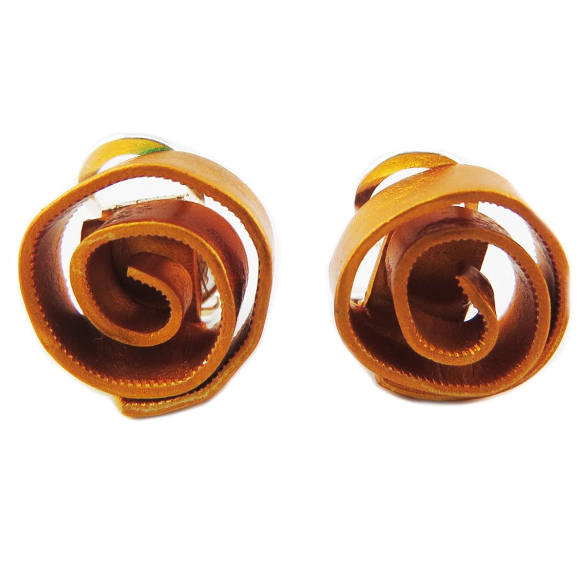 Clips / boucles d\'oreilles artisanales \'Aluminirock\' jaune - 15 cm - [R1231]