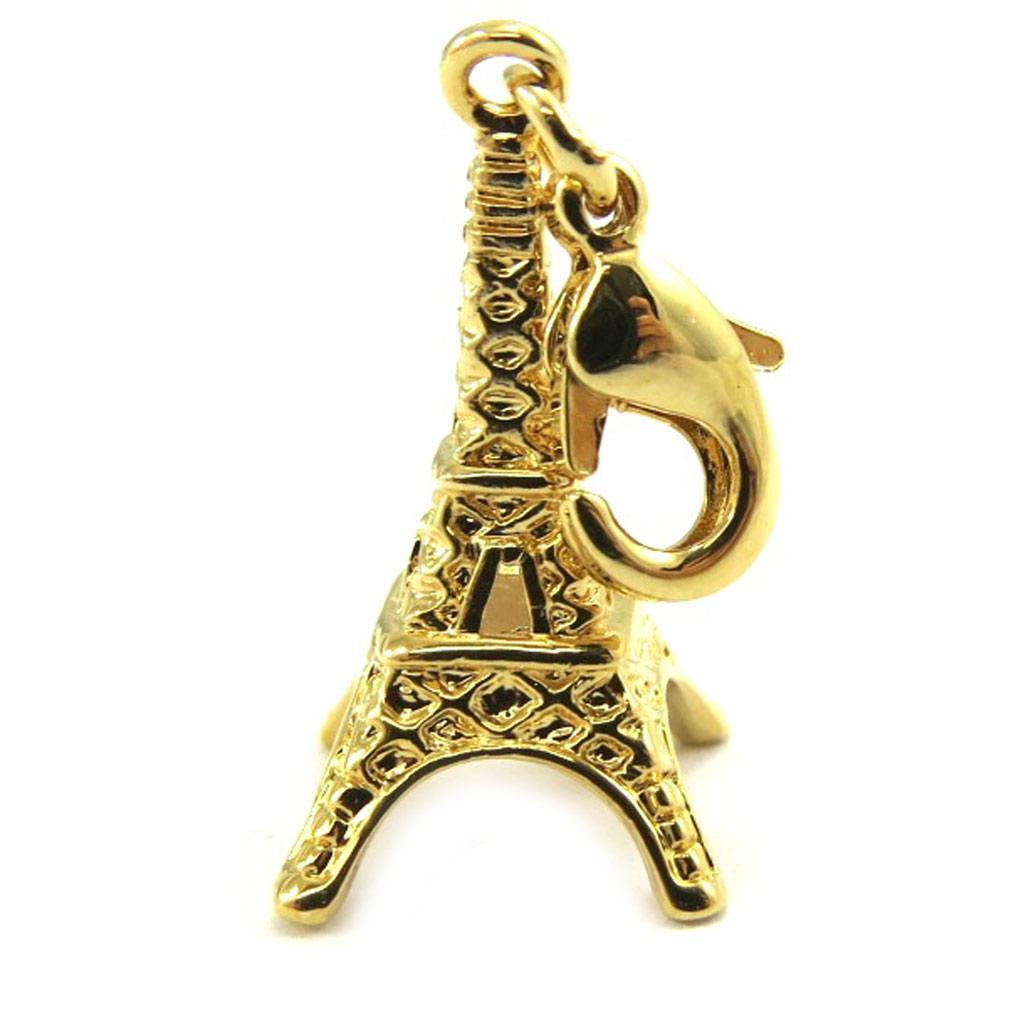 Pendentif Charm \'Tour Eiffel\' plaqué or - [L7007]