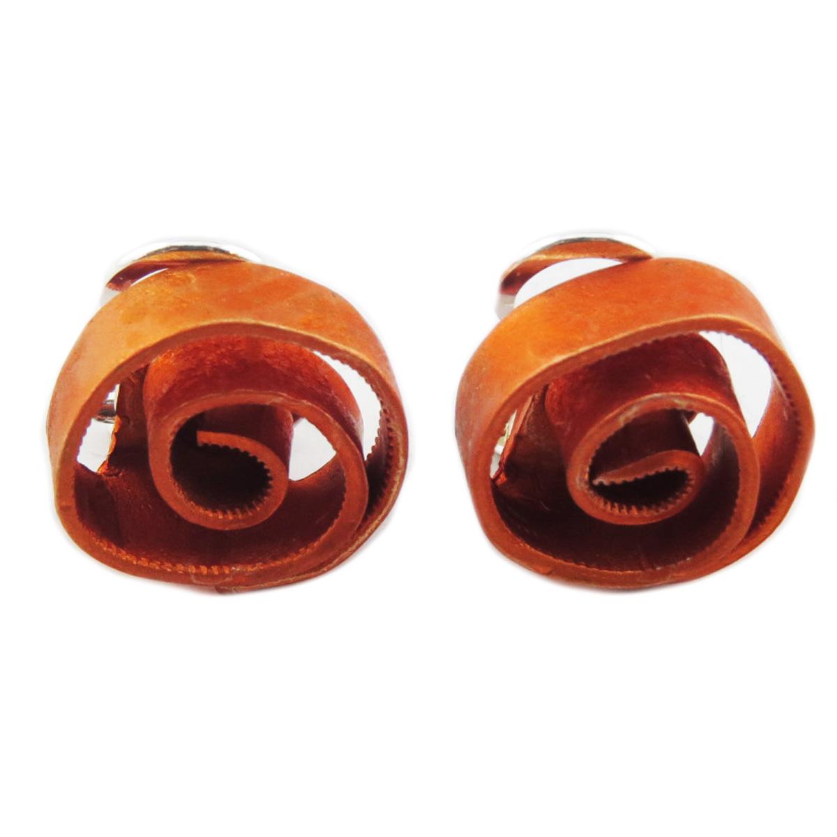 Clips / boucles d\'oreilles artisanales \'Aluminirock\' orange - 15 cm - [R1232]