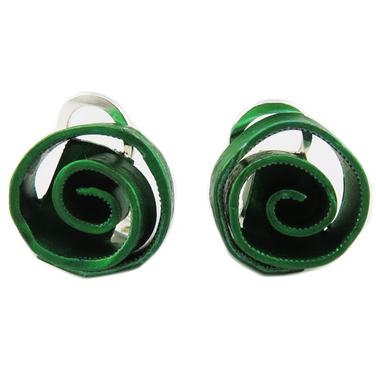 Clips / boucles d\'oreilles artisanales \'Aluminirock\' vert - 15 cm - [R1234]