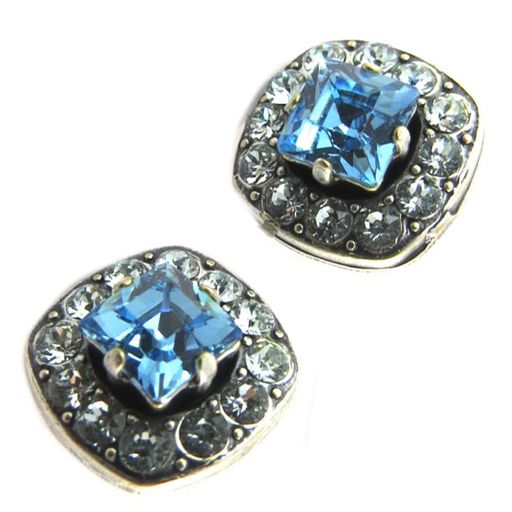 Boucles d\'oreilles artisanales \'Tsarine\' bleu clair - 13x13 mm - [P0912]