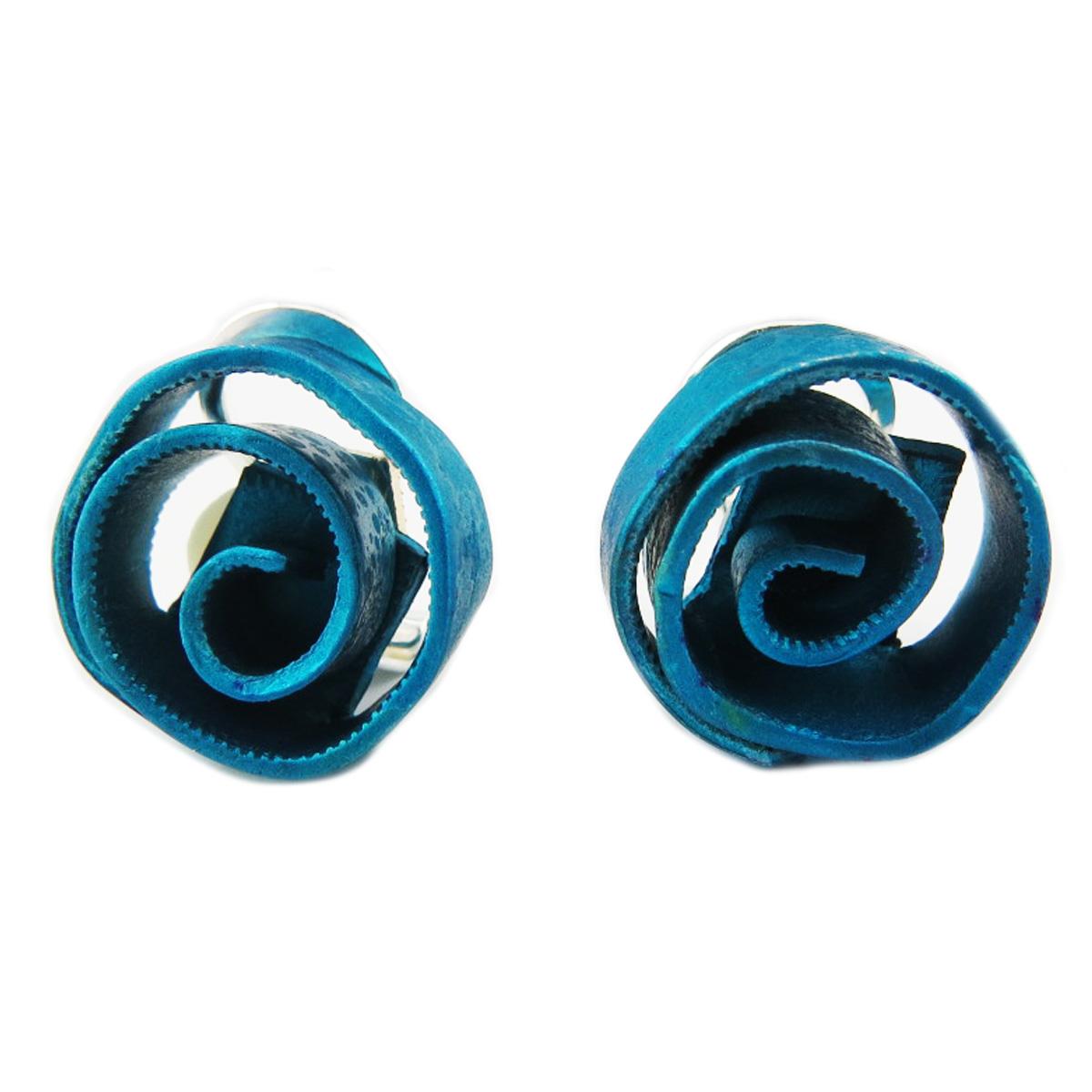 Clips / boucles d\'oreilles artisanales \'Aluminirock\' turquoise - 15 cm - [R1235]