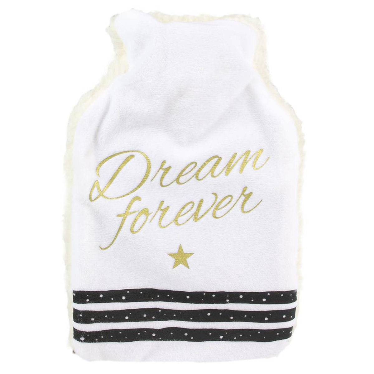 Bouillotte polaire \'Messages\' blanc (dream forever) - 26x165x45 (1L) - [Q3845]