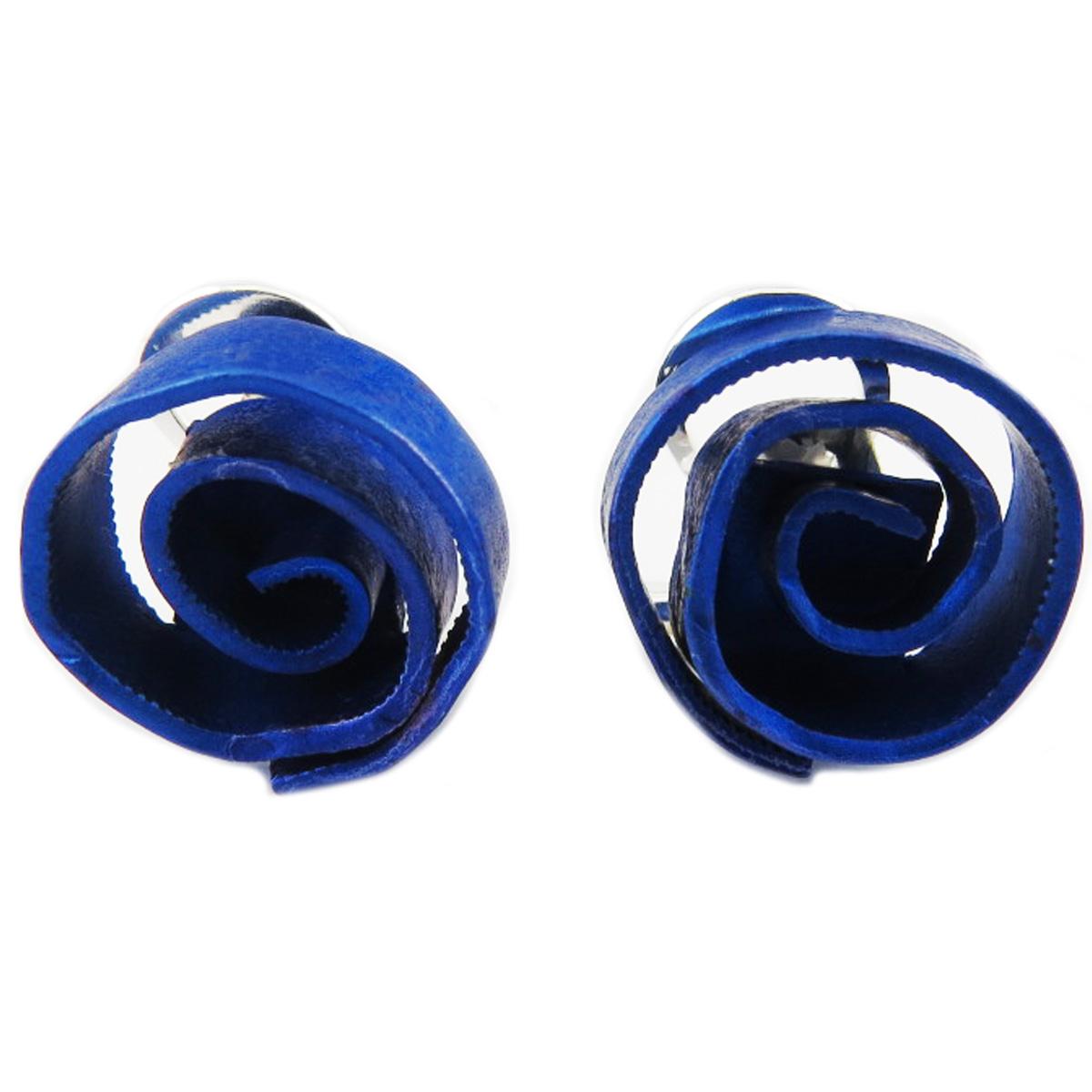 Clips / boucles d\'oreilles artisanales \'Aluminirock\' bleu - 15 cm - [R1236]