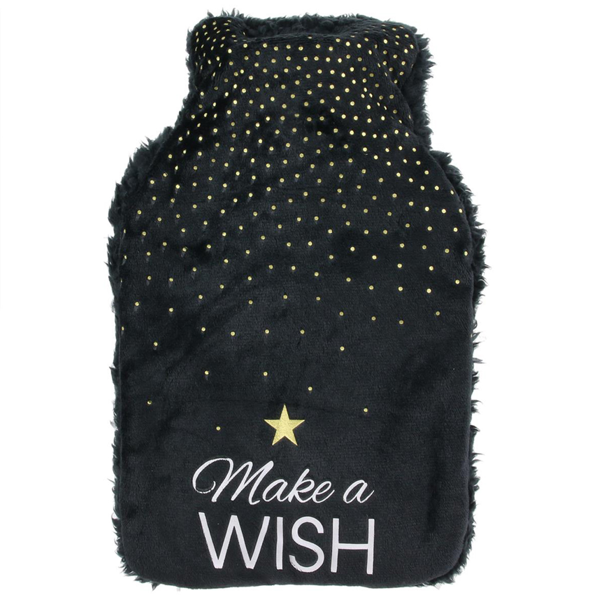 Bouillotte polaire \'Messages\' noir (make a wish) - 26x165x45 (1L) - [Q3847]