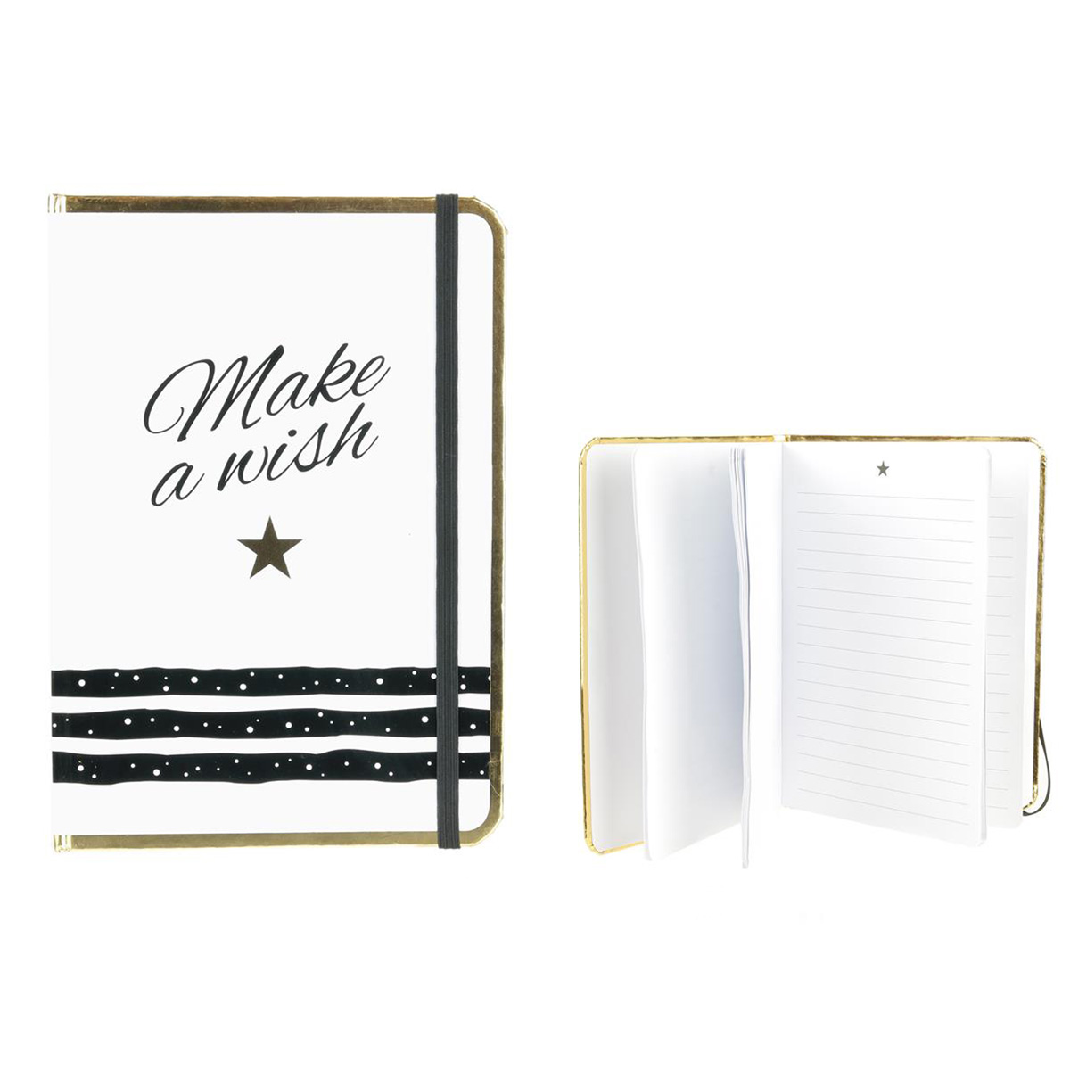 Carnet A5 \'Messages\' blanc doré (Make a wish) - 21x148 cm - [Q3849]