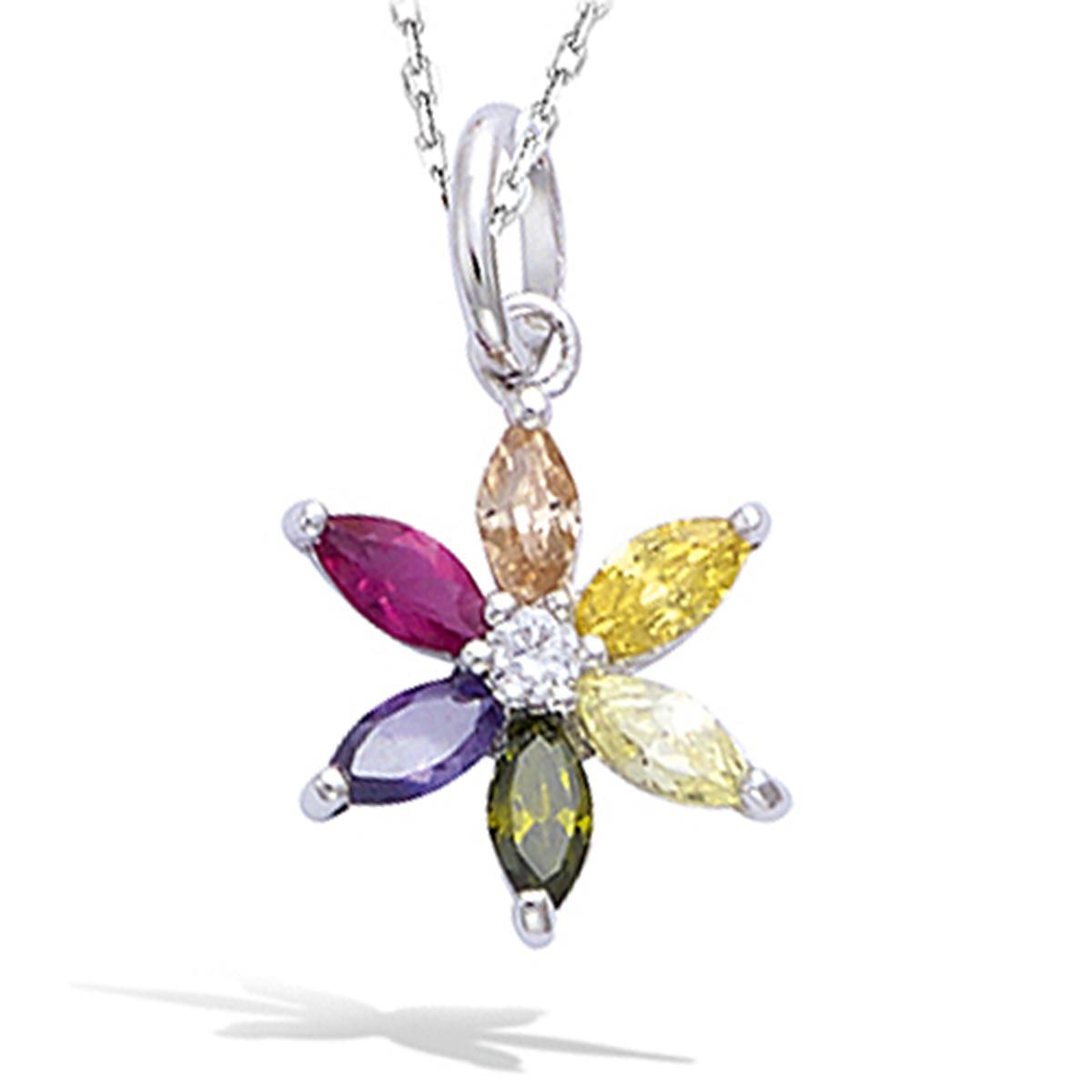 Pendentif argent \'Fleur de Cristal\' tutti frutti (rhodié) - 12 mm - [N5334]