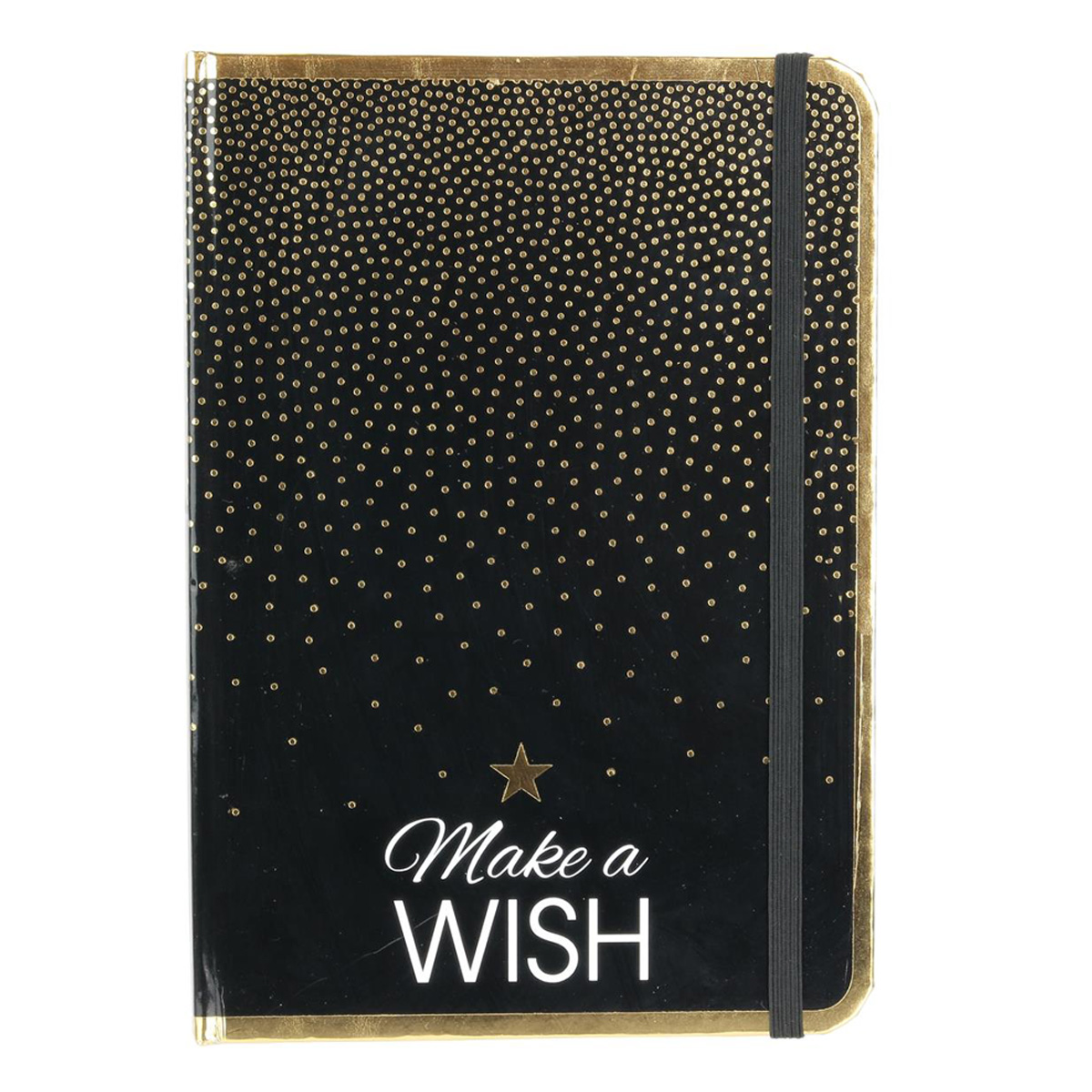 Carnet A5 \'Messages\' noir doré (Make a wish) - 21x148 cm - [Q3851]