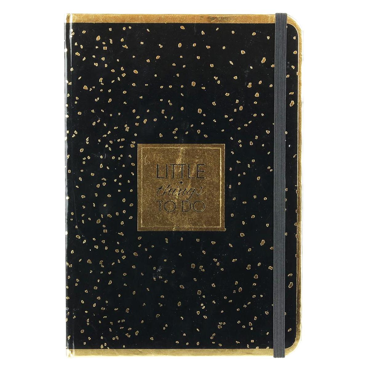 Carnet A5 \'Messages\' noir doré (Little things to do) - 21x148 cm - [Q3852]