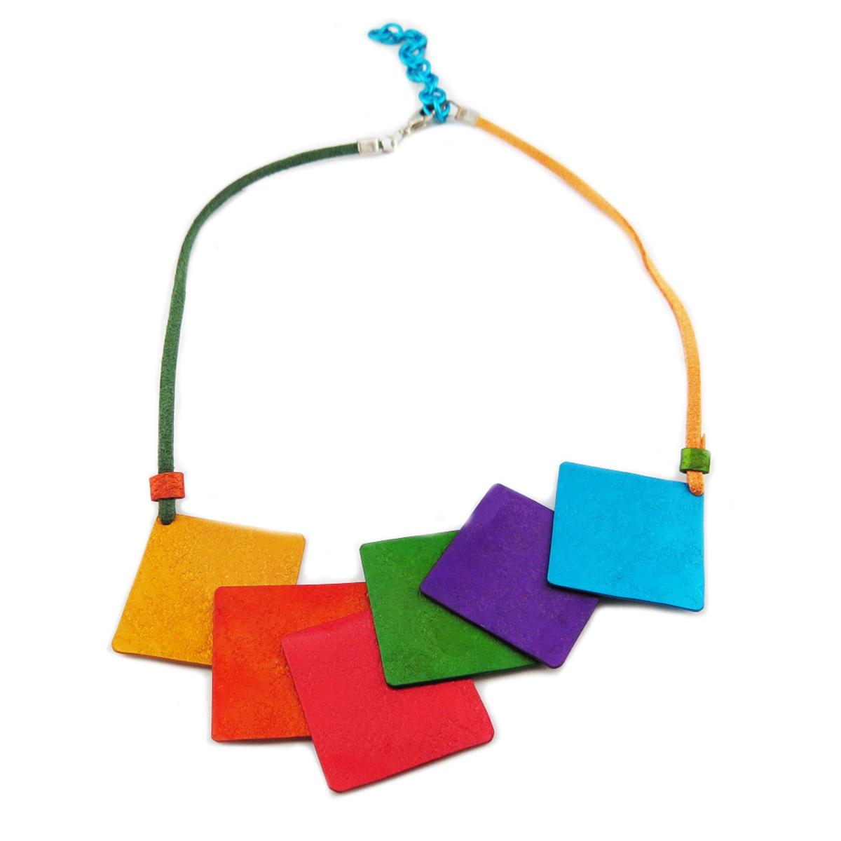 Collier artisanal \'Aluminirock\' multicolore - 115x55 cm - [R1242]
