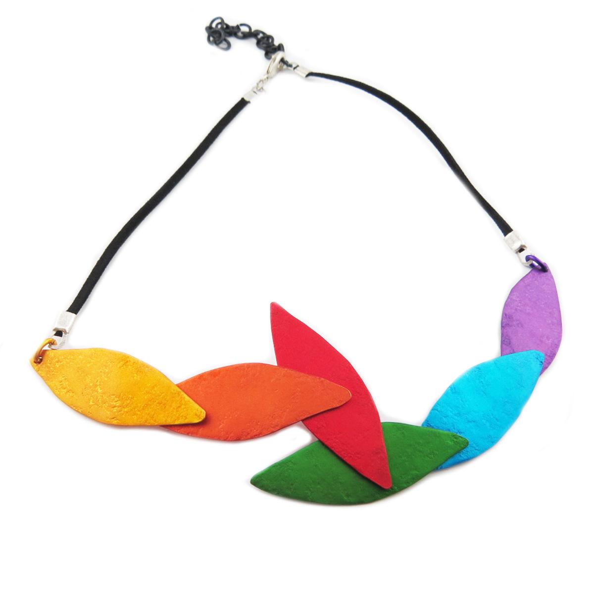 Collier artisanal \'Aluminirock\' multicolore - 15x5 cm - [R1243]