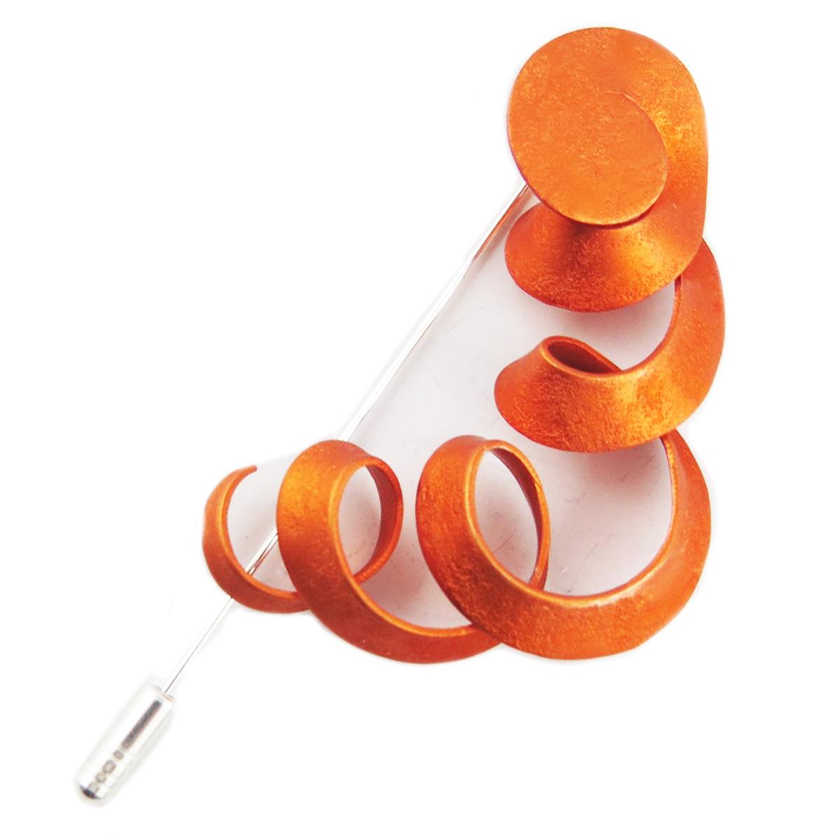 Broche fibule artisanale \'Aluminirock\' orange - 9 cm, 55x48 mm - [R1244]