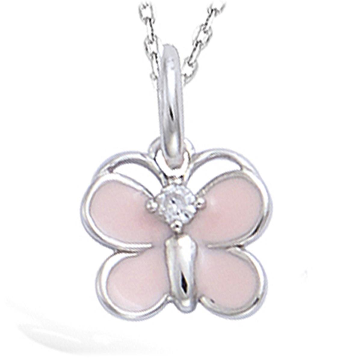 Pendentif Argent \'Papillon\' rose argenté (rhodié) - 9x8 mm - [N5346]