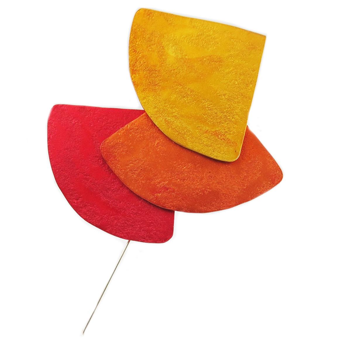 Broche fibule artisanale \'Aluminirock\' rouge orange jaune - 12 cm, 72x68 mm - [R1246]