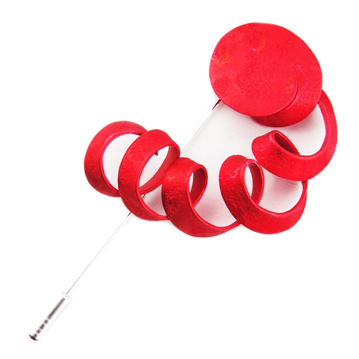 Broche fibule artisanale \'Aluminirock\' rouge - 9 cm, 55x48 mm - [R1247]
