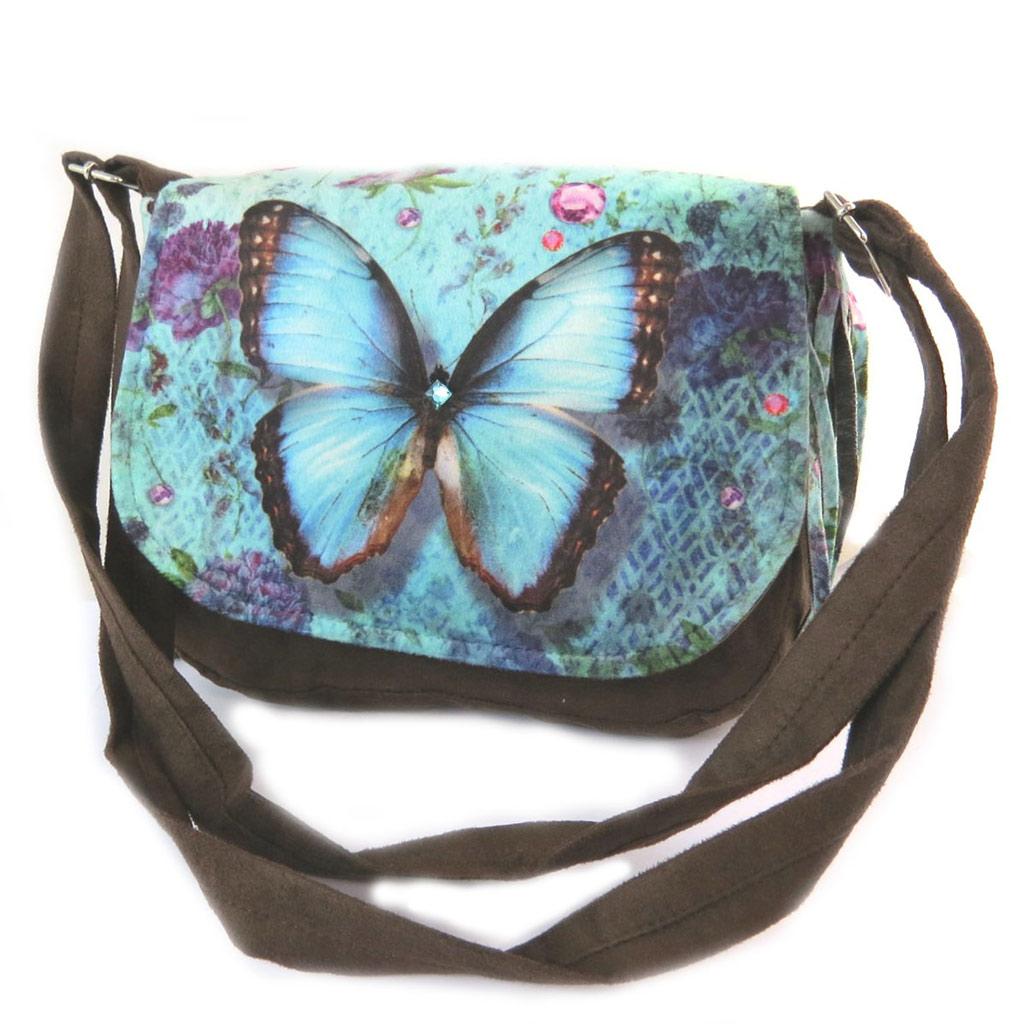 Besace à franges \'Papillon Imaginaire\' bleu marron - 21x18x55 cm - [N8753]