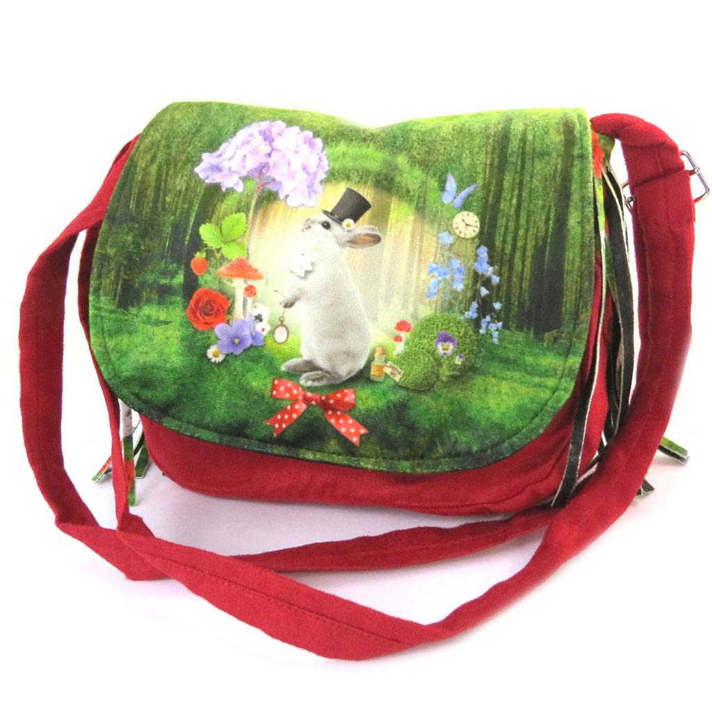 Besace à franges \'Lapin Wonderland\' vert rouge - 21x18x55 cm - [N8755]