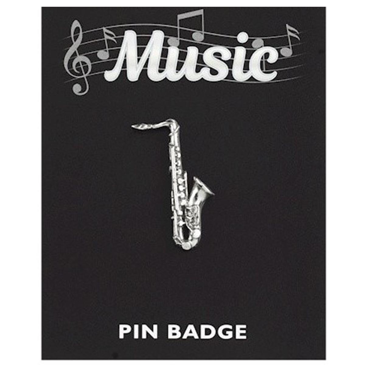 Broche pin\'s \'Musique\' argenté (saxophone) - 33x10 mm - [Q3882]