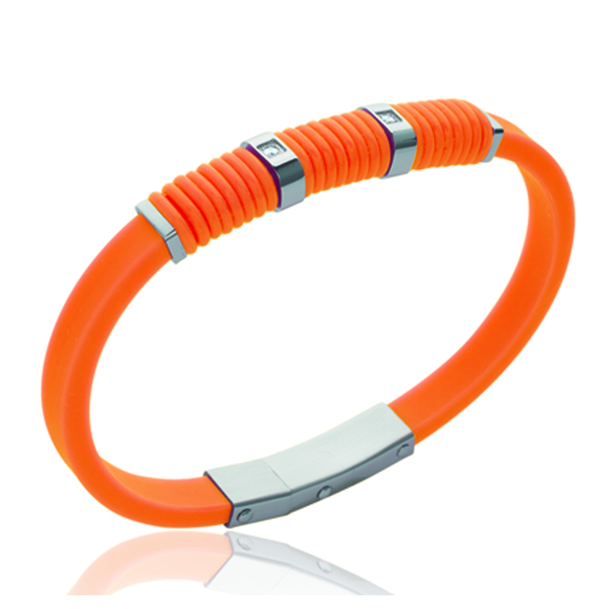 Bracelet silicone \'Coloriage\' orange - 8 mm - [K9361]