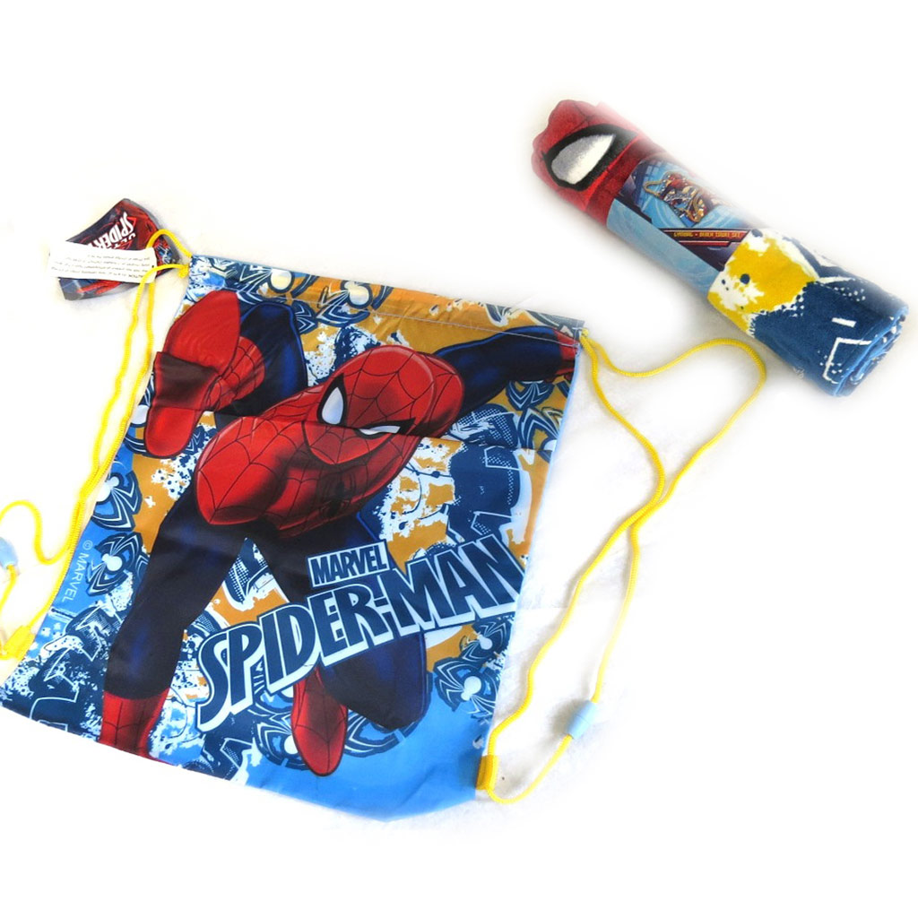Set de plage \'Spiderman\' bleu rouge (serviette + sac piscine) 120x60 cm - [M5947]