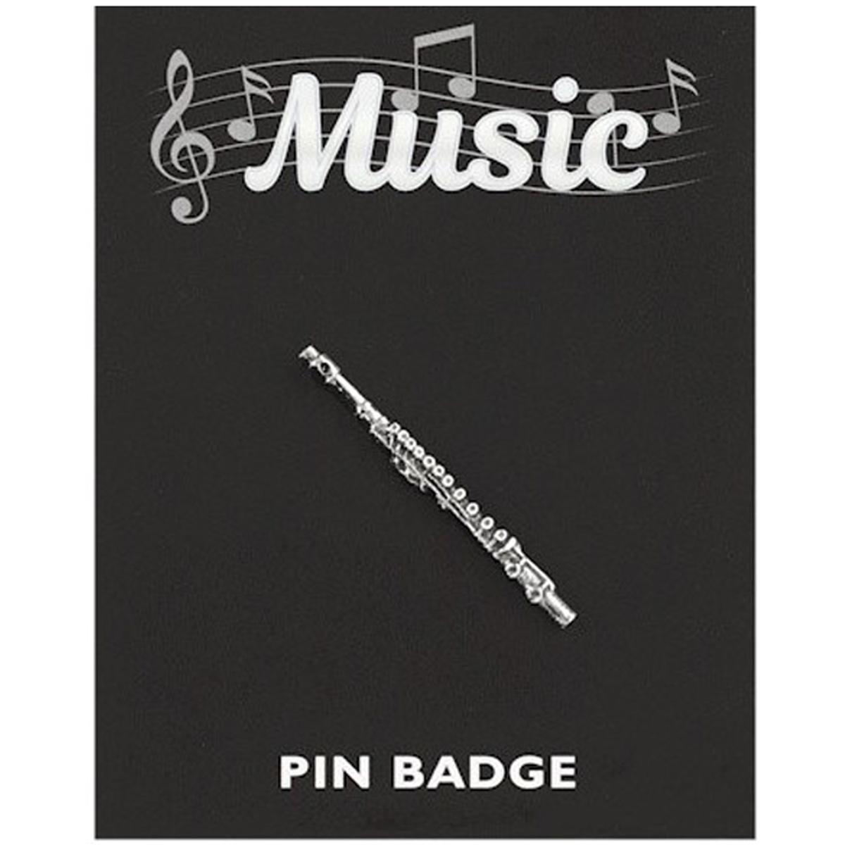 Broche pin\'s \'Musique\' argenté (flûte traversière) - 40x3 mm - [Q3883]
