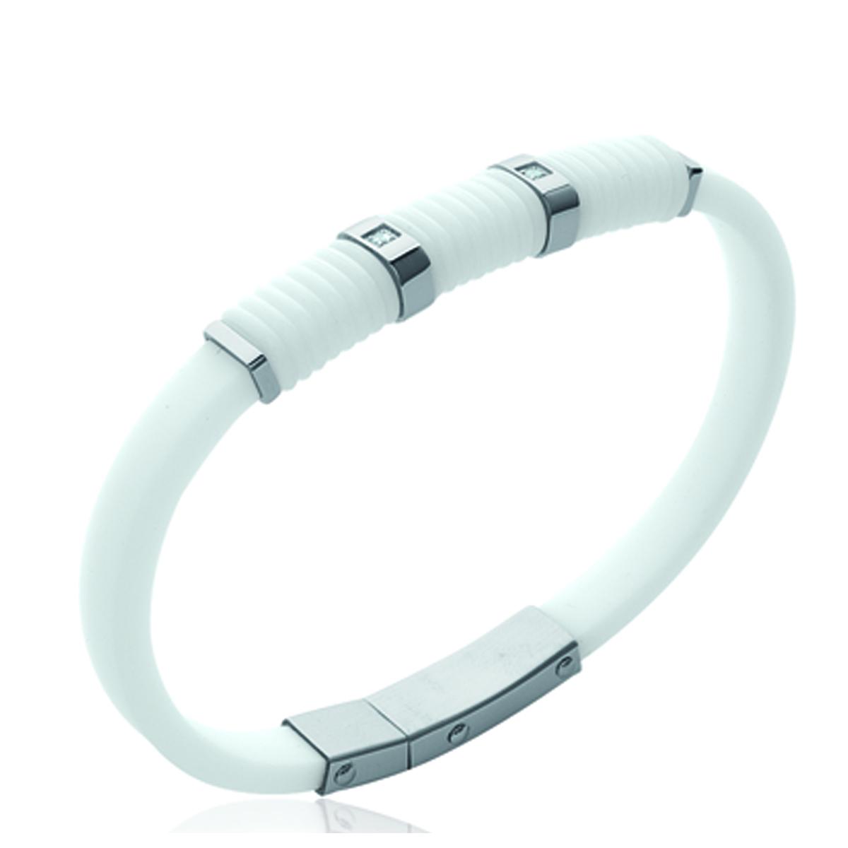 Bracelet silicone \'Coloriage\' blanc - 8 mm - [K9362]