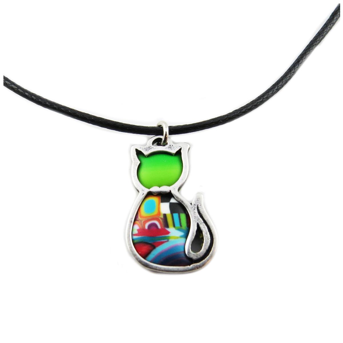 Collier artisanal \'Colombine & Arlequin\' vert multicolore argenté - 22x15 mm (chat) - [R1267]
