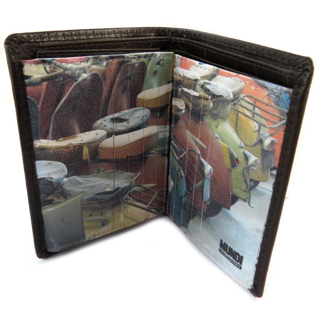 Portefeuille cuir \'Mundi\' marron vintage (22 cartes) - 115x9x2 cm - [N8781]