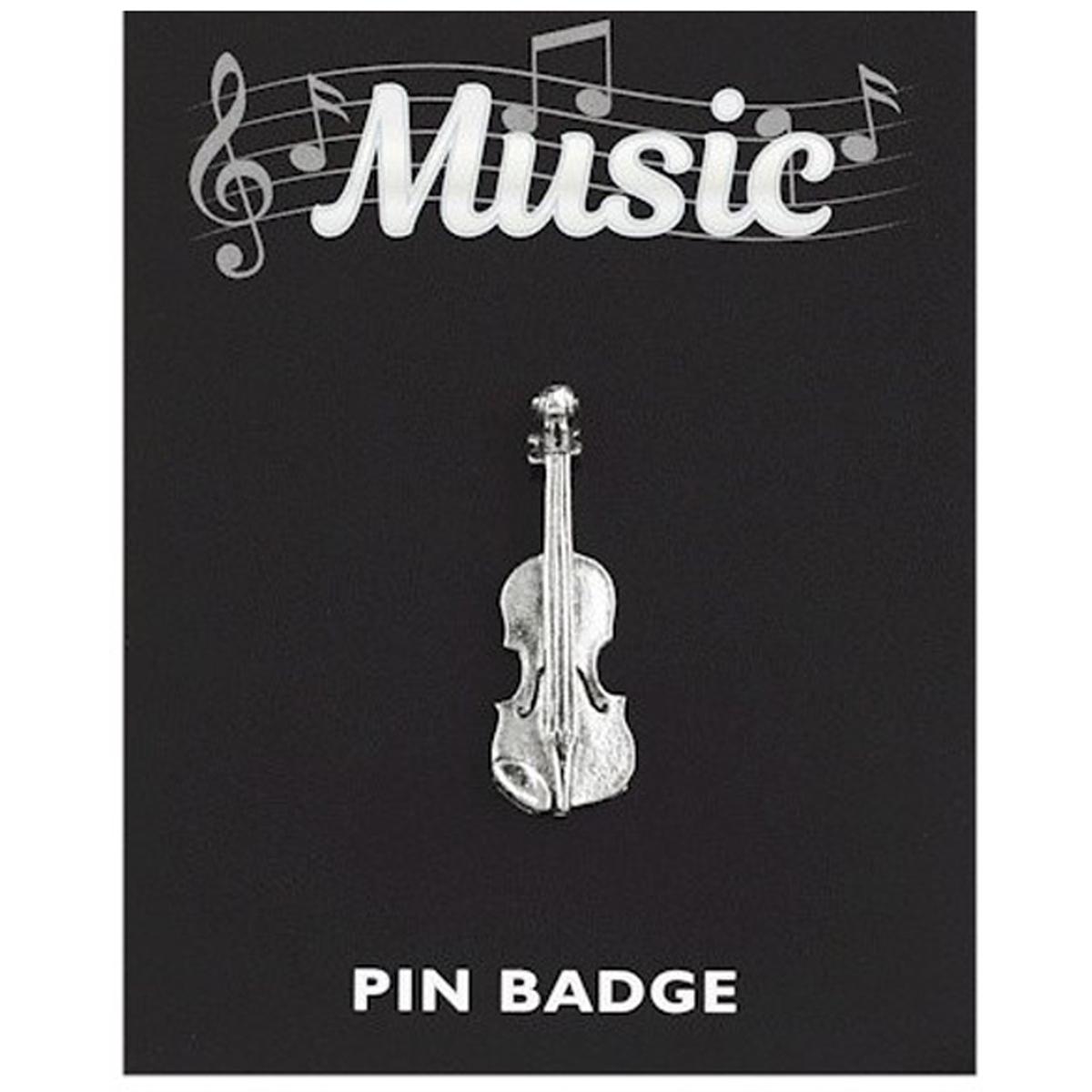 Broche pin\'s \'Musique\' argenté (violon) - 35x10 mm - [Q3884]