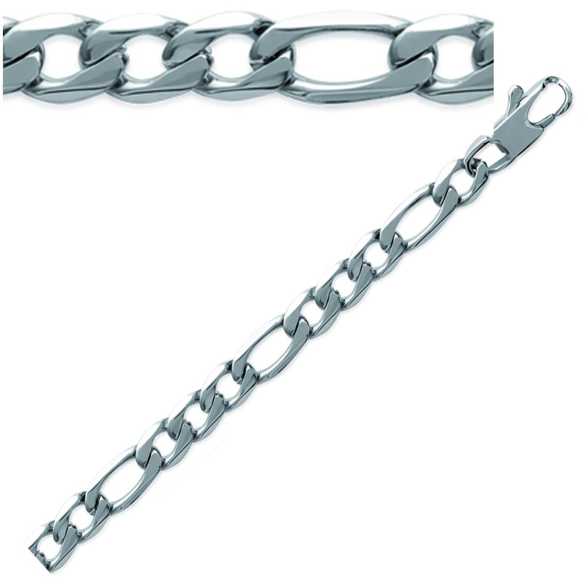 Bracelet Acier \'Maille Figaro\' argenté - 21 cm 6 mm - [K9364]