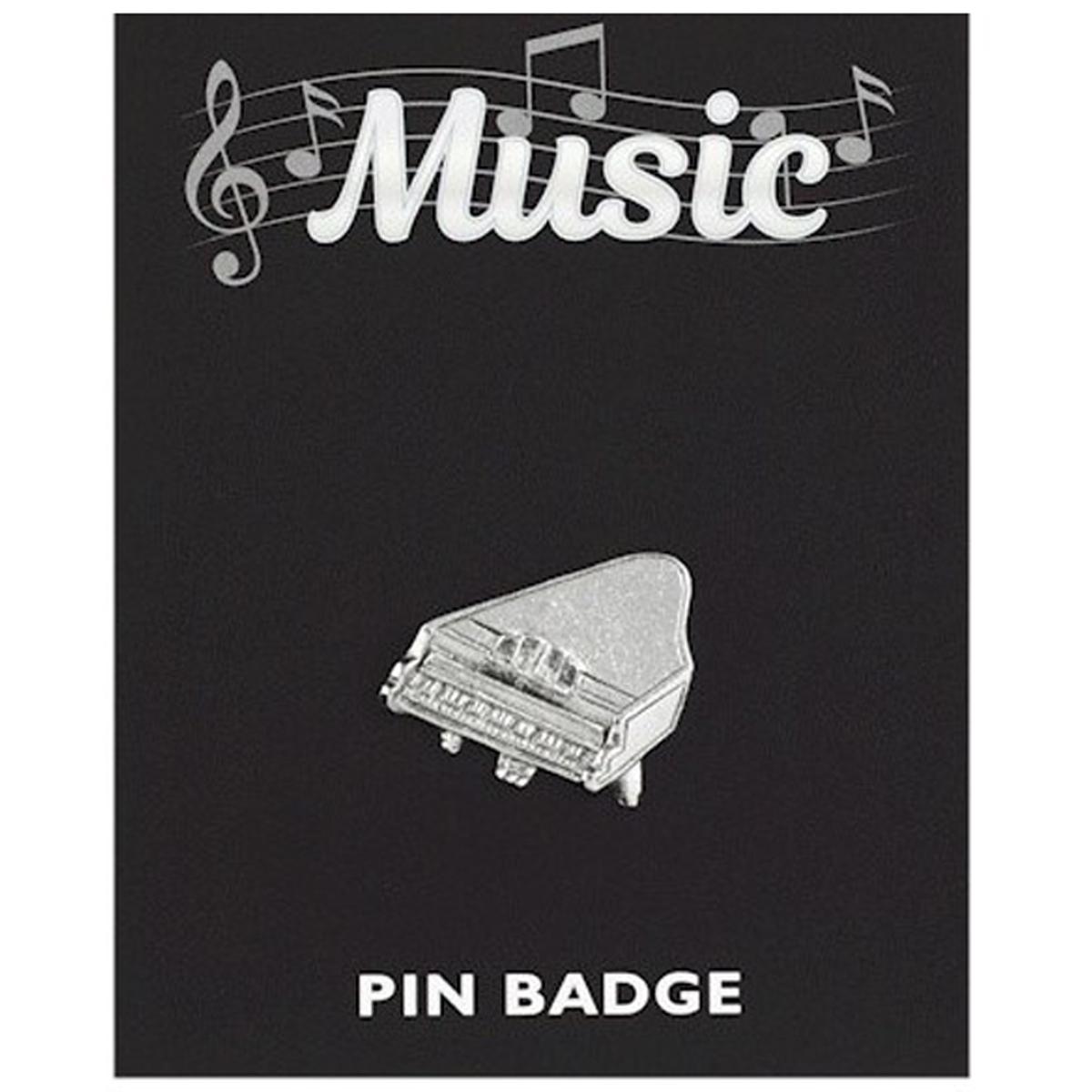 Broche pin\'s \'Musique\' argenté (piano) - 25x25 mm - [Q3885]
