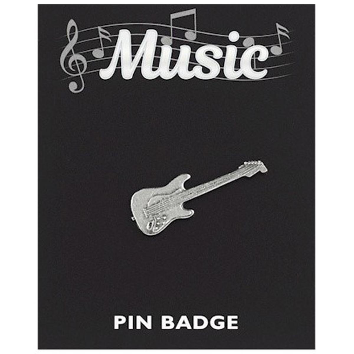 Broche pin\'s \'Musique\' argenté (guitare électrique) - 35x10 mm - [Q3886]