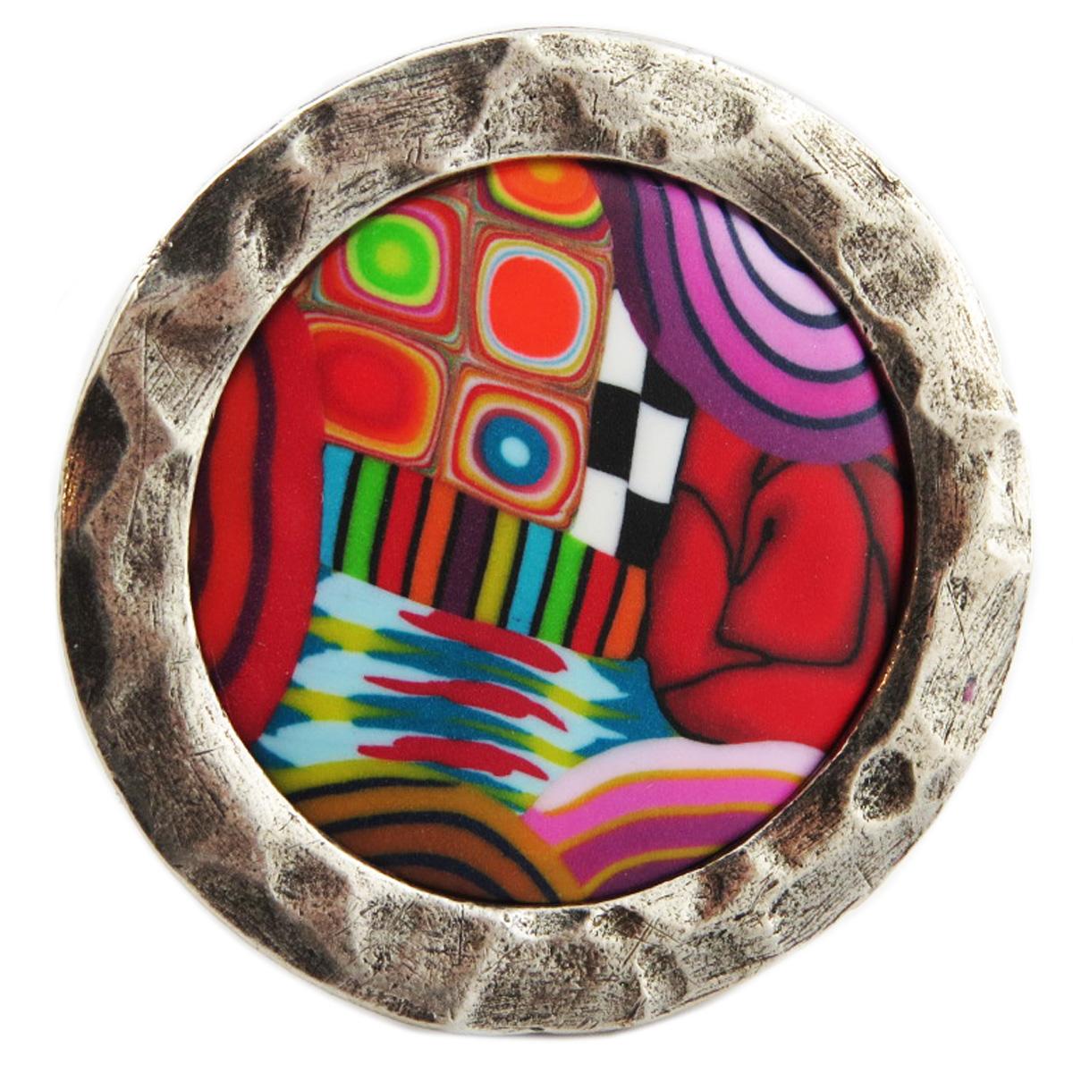 Bague artisanale \'Colombine & Arlequin\' multicolore argenté - 35 mm - [R1280]