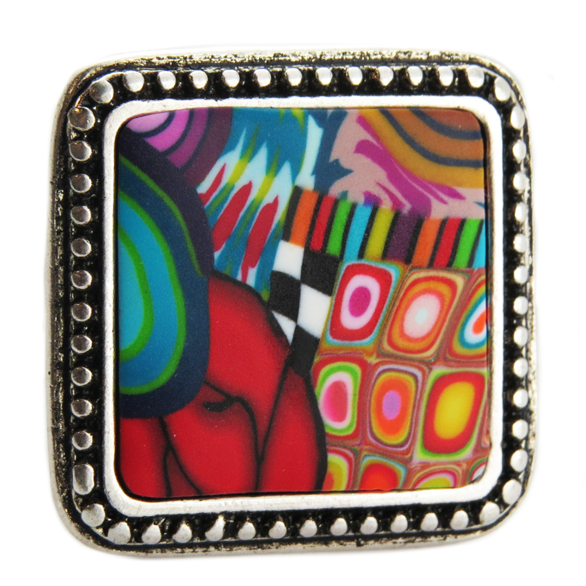 Bague artisanale \'Colombine & Arlequin\' multicolore argenté - 27x27 mm - [R1281]