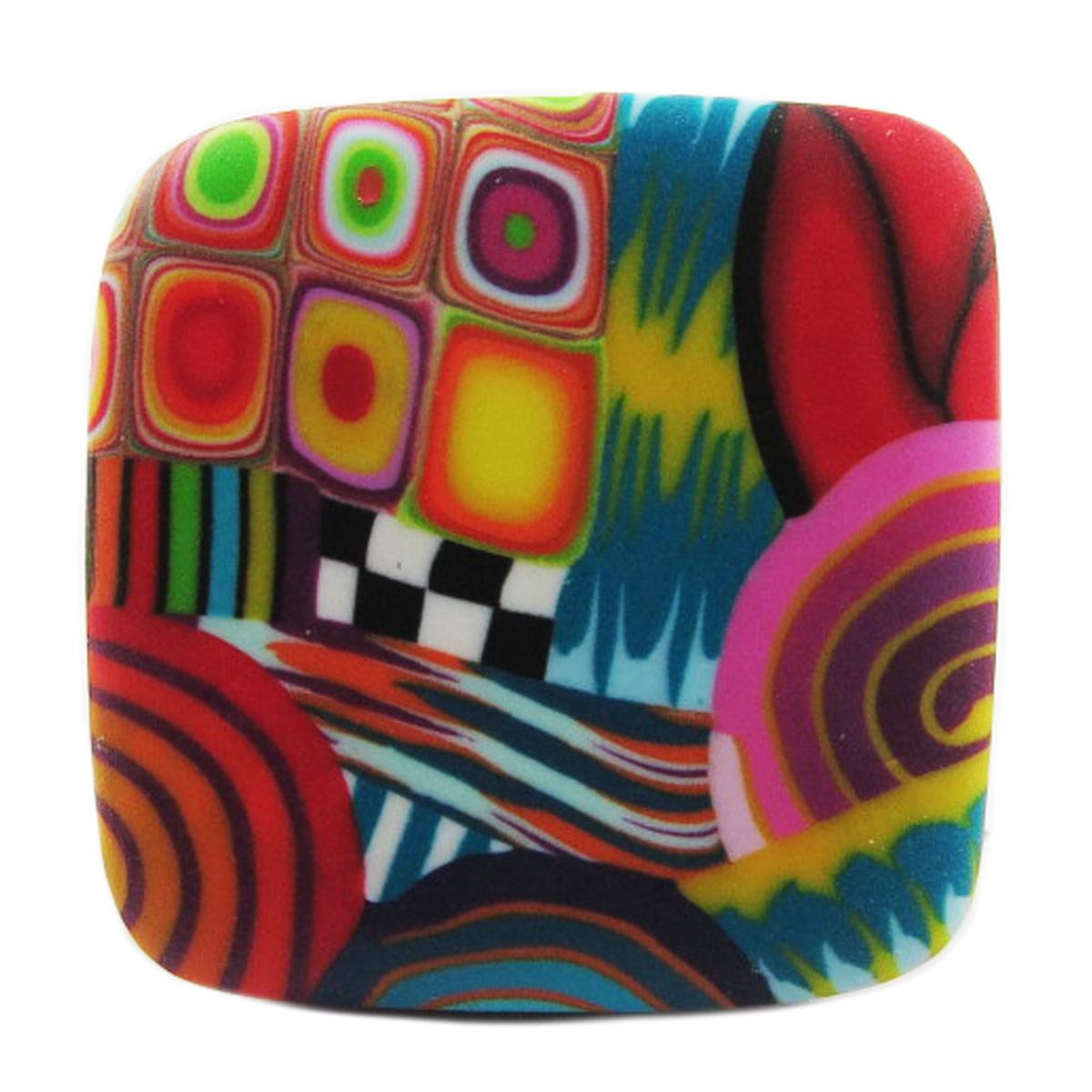 Bague artisanale \'Colombine & Arlequin\' multicolore argenté - 30x30 mm - [R1282]