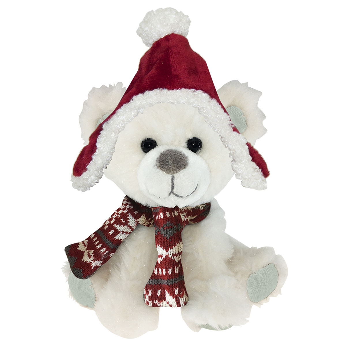 Peluche design \'Teddy Bear\' blanc bonnet rouge - 20 cm - [Q3902]