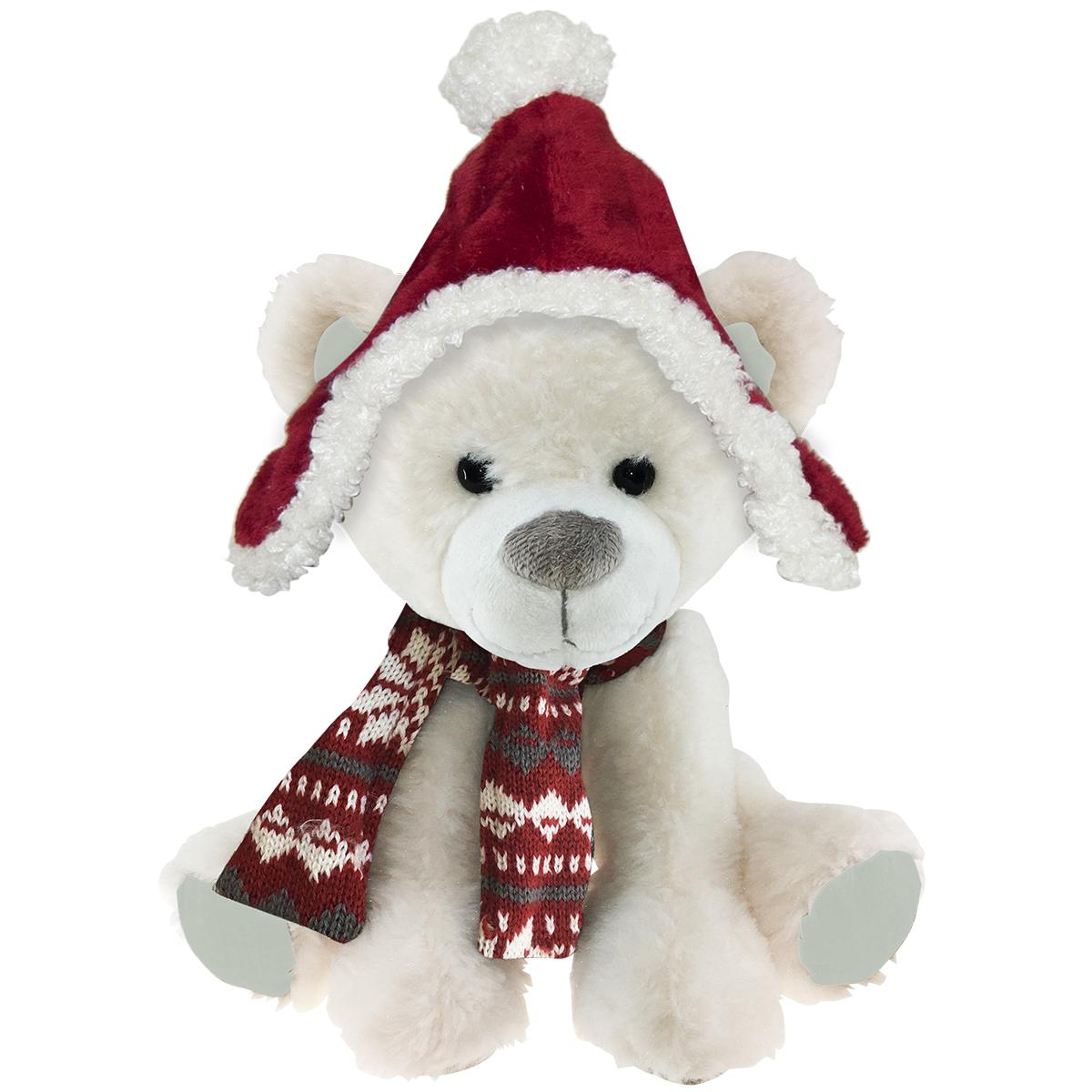 Peluche design \'Teddy Bear\' blanc bonnet rouge - 45 cm - [Q3903]