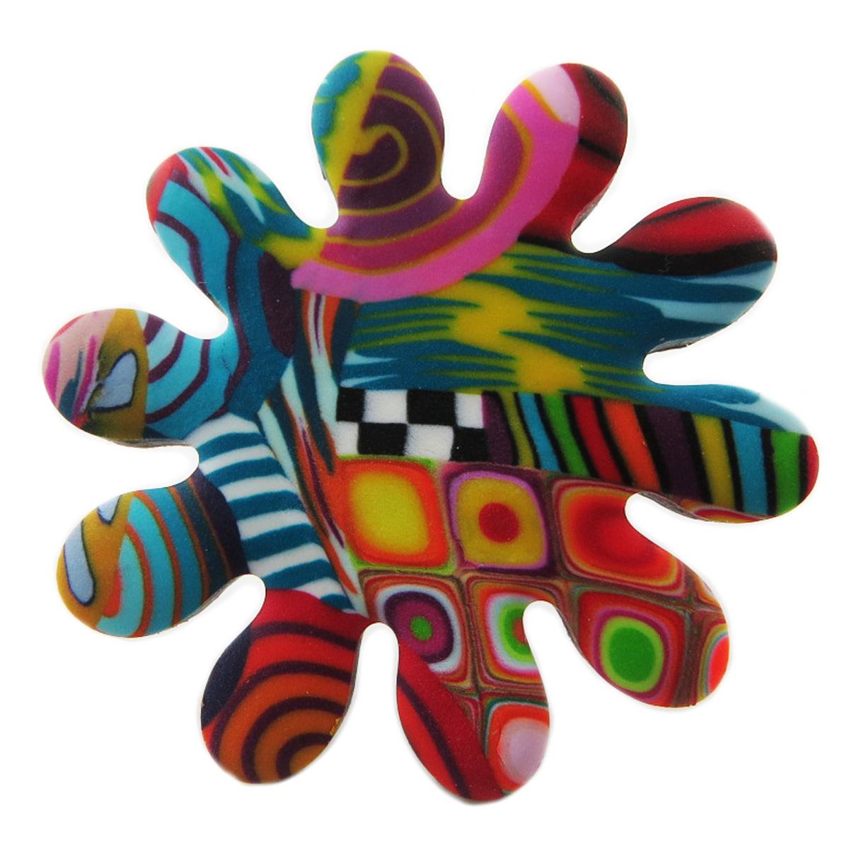 Bague artisanale \'Colombine & Arlequin\' multicolore argenté (fleur) - 40 mm - [R1283]