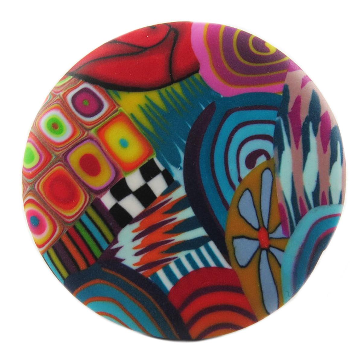 Bague artisanale \'Colombine & Arlequin\' multicolore argenté (ronde) - 40 mm - [R1284]