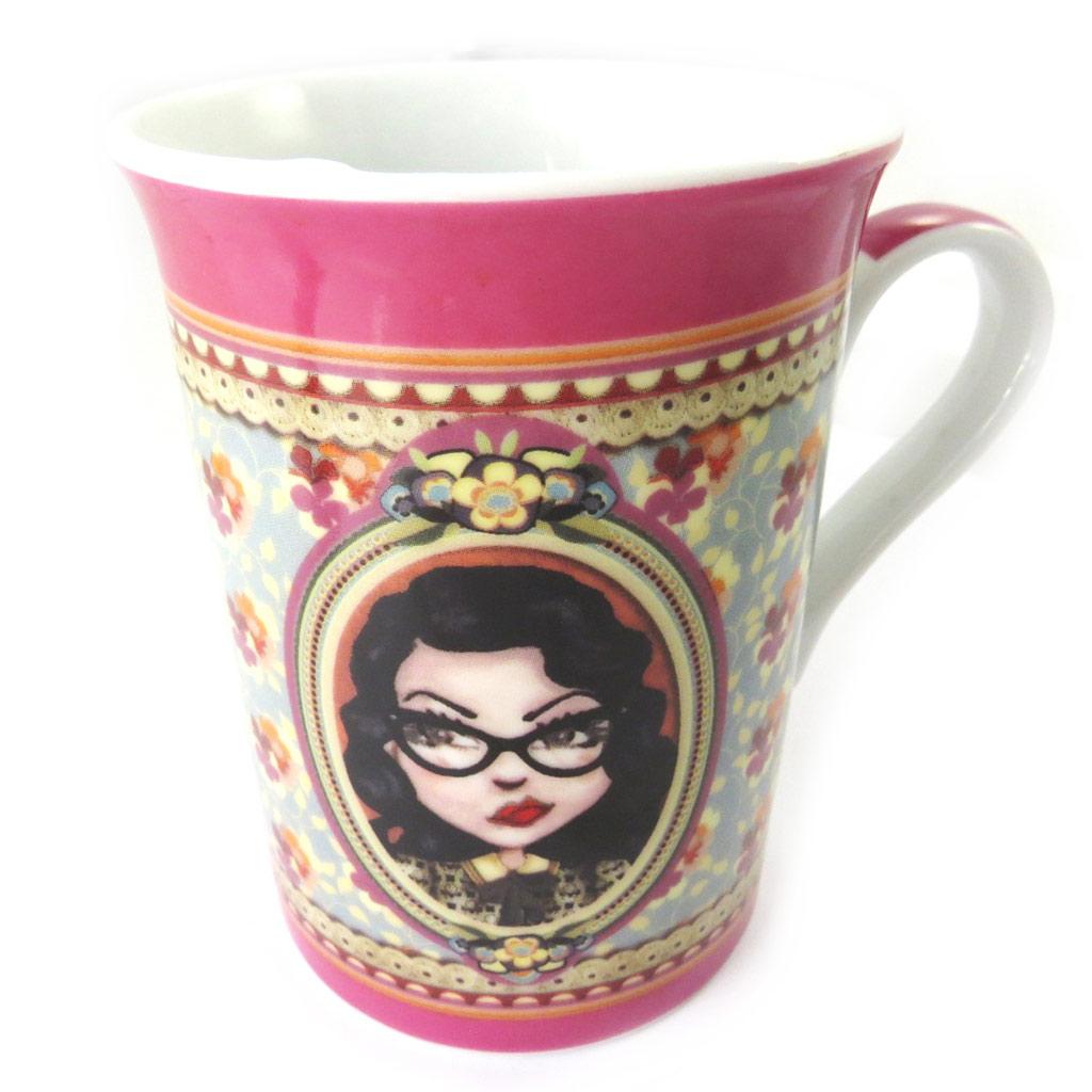 Mug porcelaine \'Lili Petrol\' cerise ( Jude) - [M6001]
