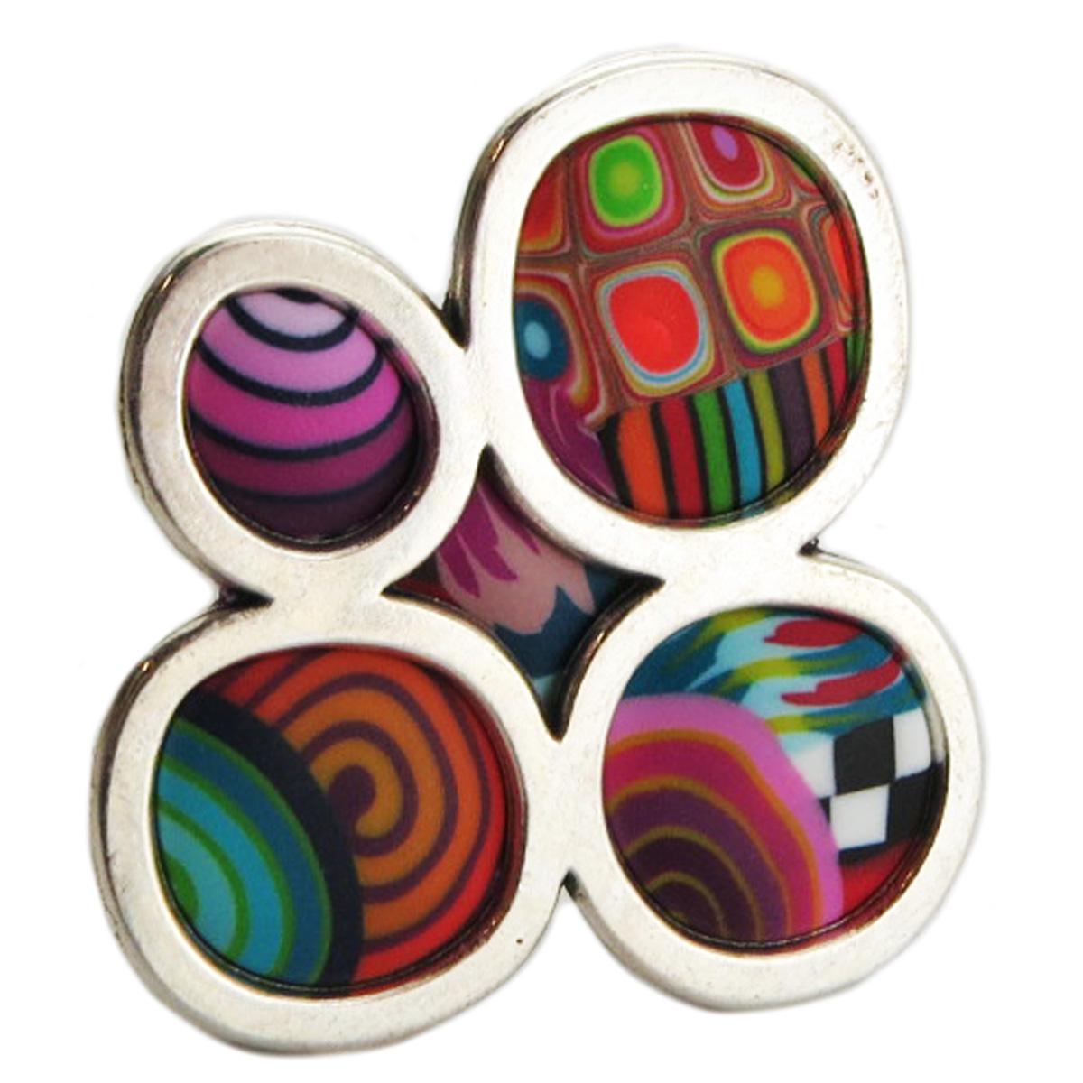 Bague artisanale \'Colombine & Arlequin\' multicolore argenté - 35x33 mm - [R1286]