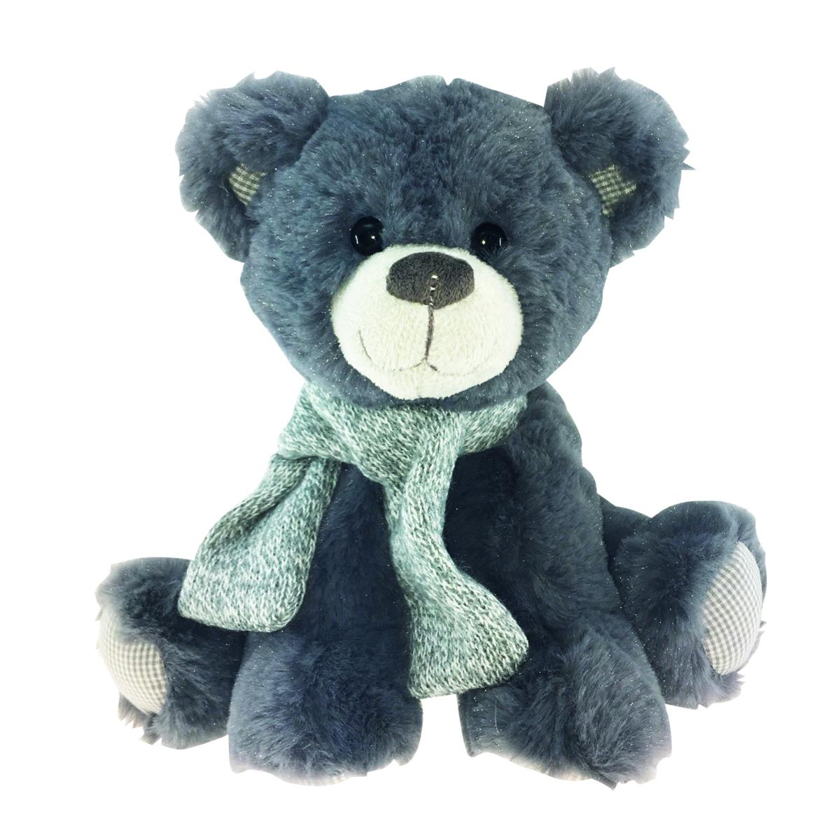 Peluche design \'Teddy Bear\' gris - 25 cm - [Q3909]