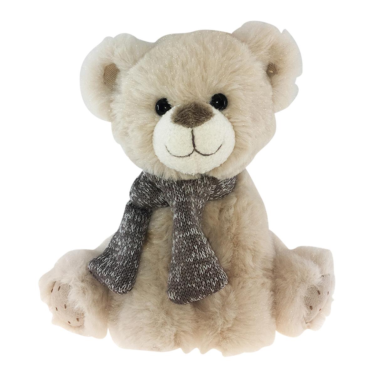 Peluche design \'Teddy Bear\' beige taupe - 20 cm - [Q3910]