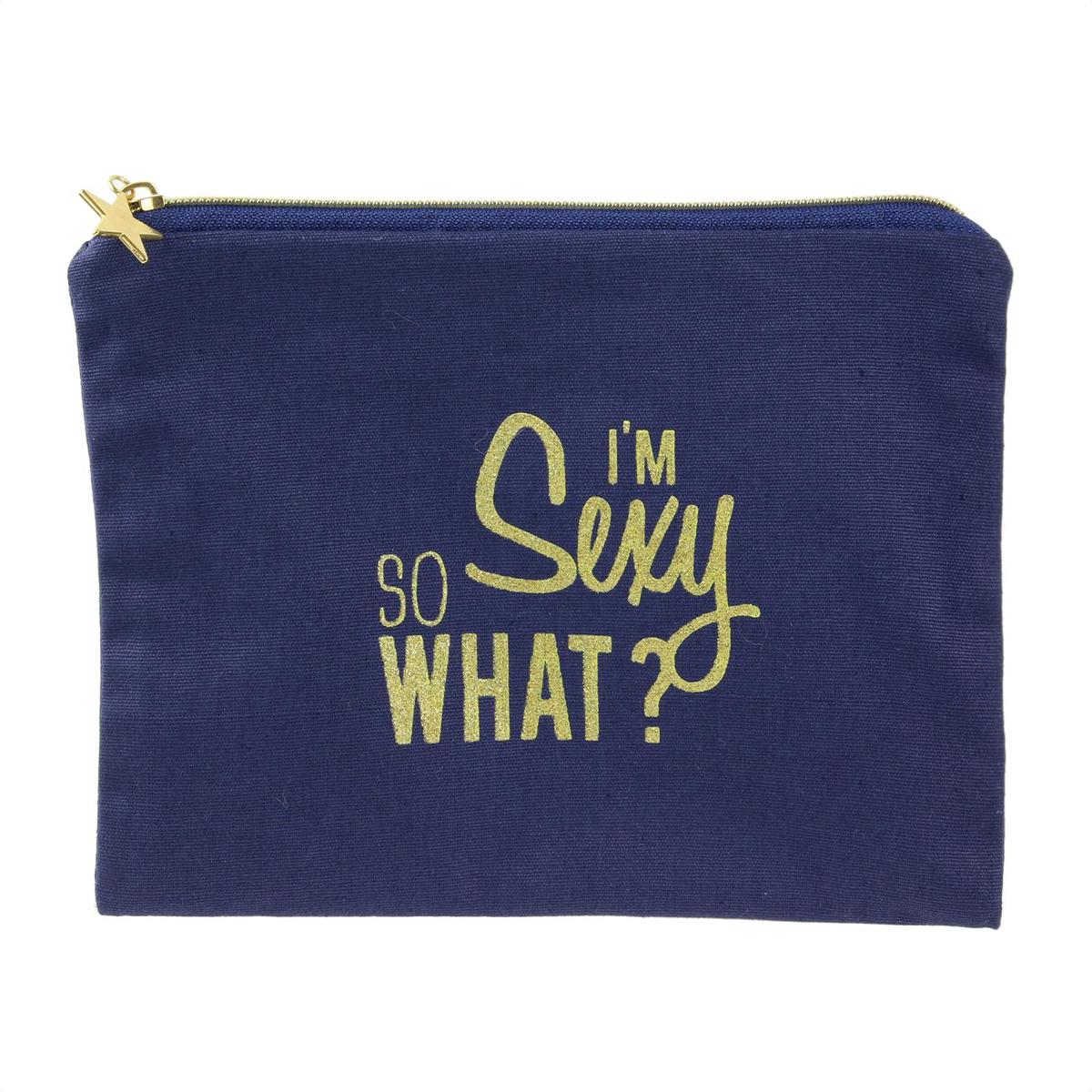 Pochette plate coton \'Messages\' bleu (I\'m sexy so what ?) - 22x165 cm - [Q3921]