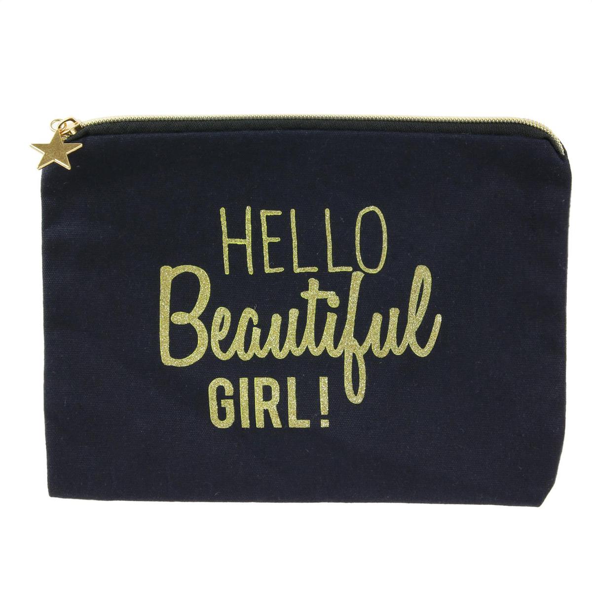 Pochette plate coton \'Messages\' noir (Hello beautiful girl !) - 22x165 cm - [Q3923]