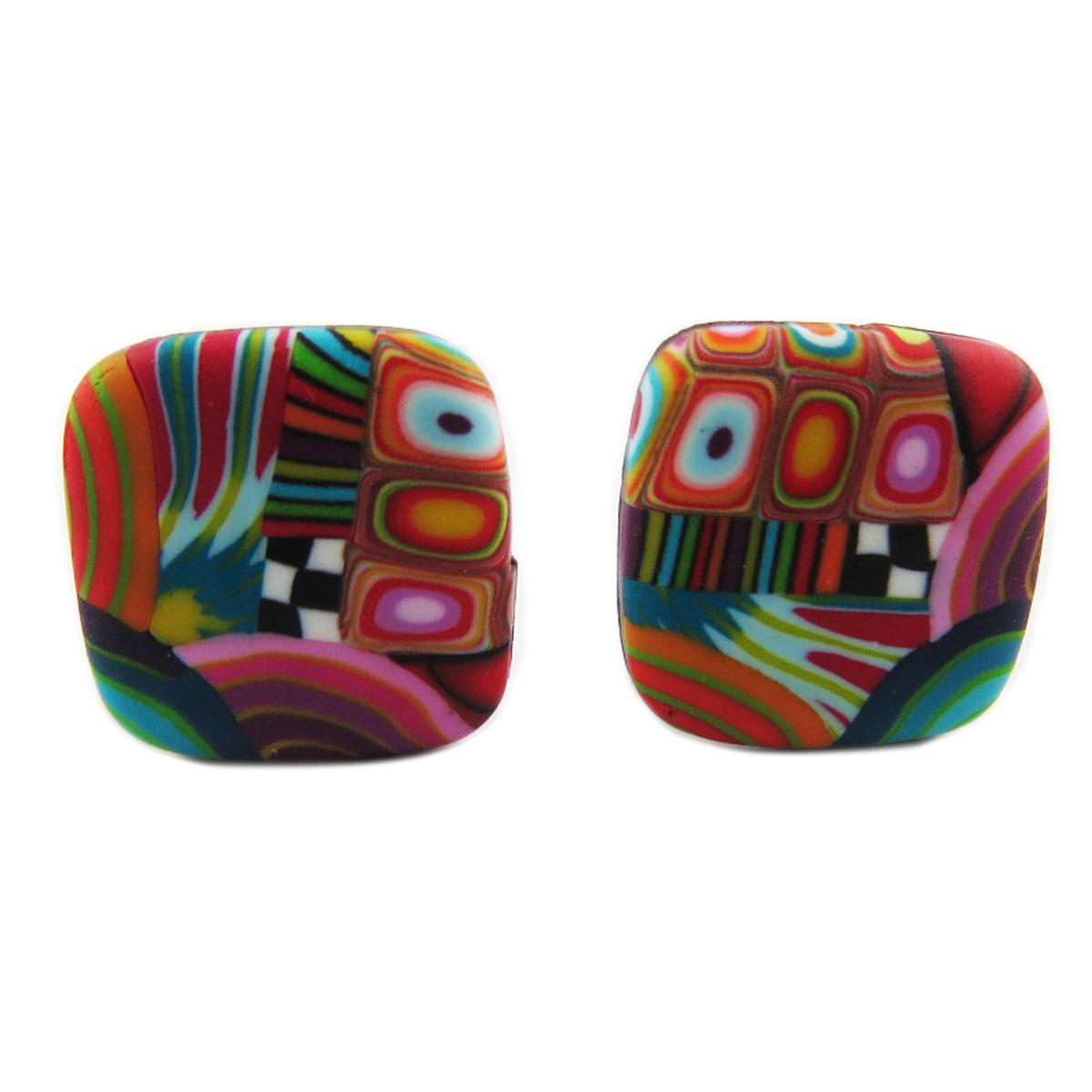 Boucles d\'oreilles clips artisanales \'Colombine & Arlequin\' multicolore - 17 cm - [R1295]